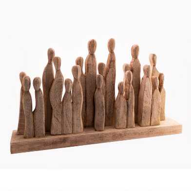 Carved Mango Wood Group of Figures Decor