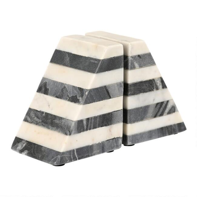 White and Gray Marble Geometric Bookends