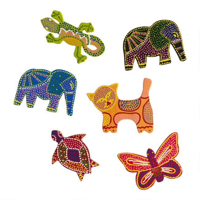 Handcrafted Wood Animal Magnets Set of 6
