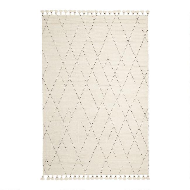 Ivory Moroccan Style Tufted Wool Logan Area Rug