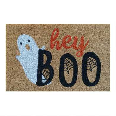 Black and Natural Hey Boo Coir Doormat