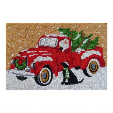 Santa Claus Truck and Dog Coir Doormat