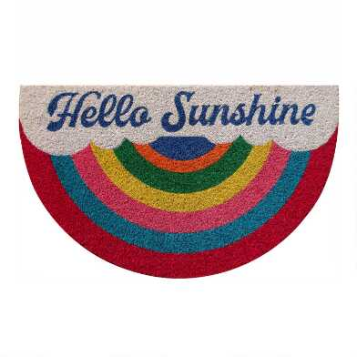 Multicolor Hello Sunshine Rainbow Coir Doormat