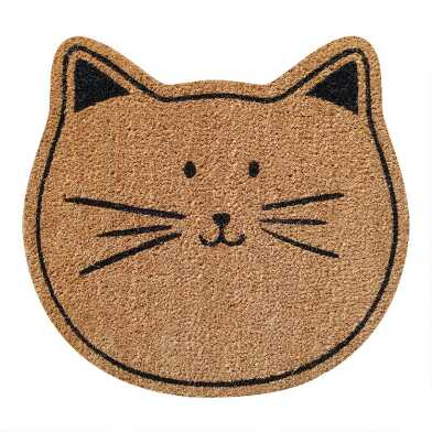 Natural and Black Cat Face Coir Doormat