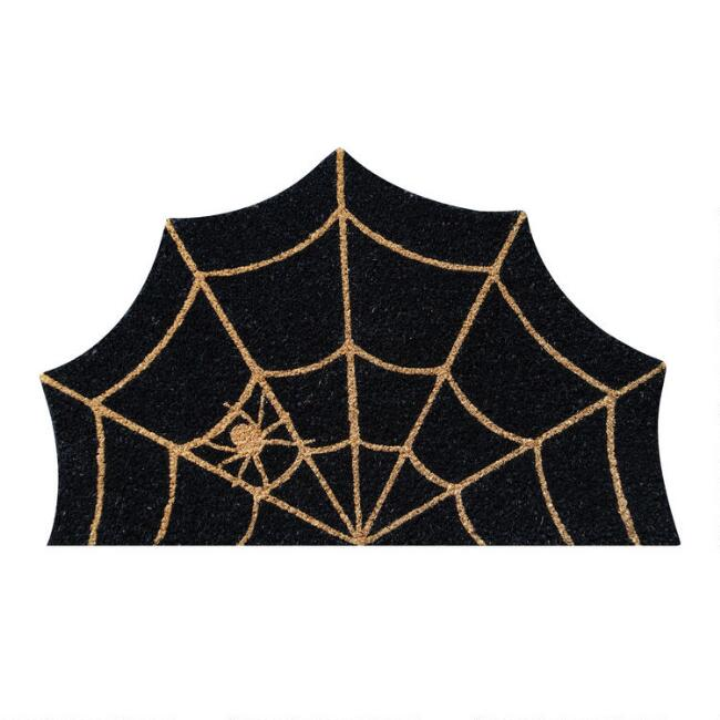 Black and Natural Spider Web Coir Doormat