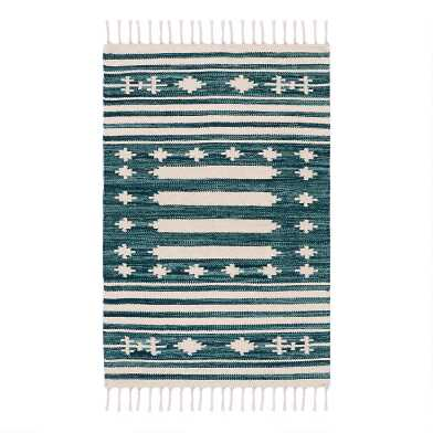 Teal Geometric Cotton Dhurrie Area Rug