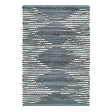 Blue Diamond Woven Cotton Area Rug
