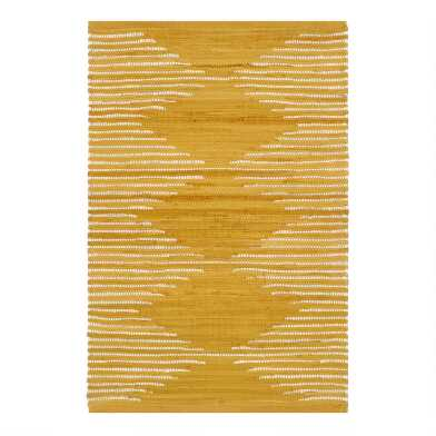 Gold Diamond Woven Cotton Area Rug