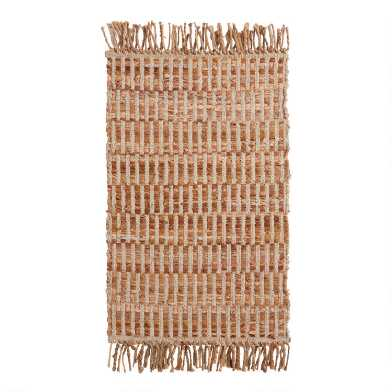 Brown and Natural Geometric Leather and Jute Area Rug