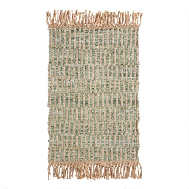 Green and Natural Geometric Leather and Jute Area Rug