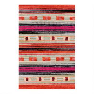 Gray Multicolor Peruvian Stripe Woven Cotton Area Rug