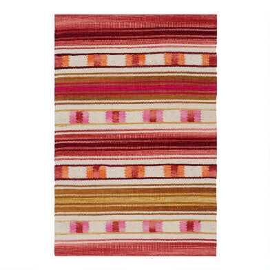 Ivory Multicolor Peruvian Stripe Woven Cotton Area Rug