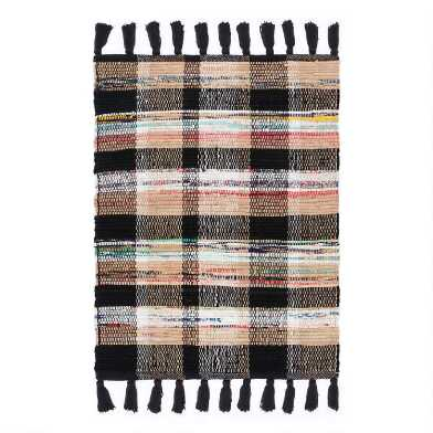 Black Multicolor Plaid Woven Cotton Area Rug