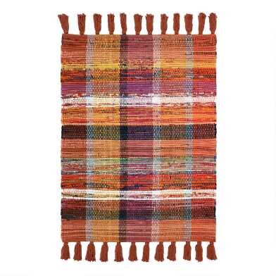 Rust Multicolor Plaid Woven Cotton Area Rug