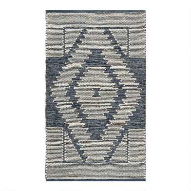 Blue Diamond Cotton and Wool Area Rug