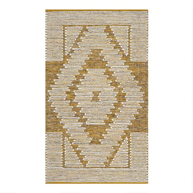 Gold Diamond Cotton and Wool Area Rug
