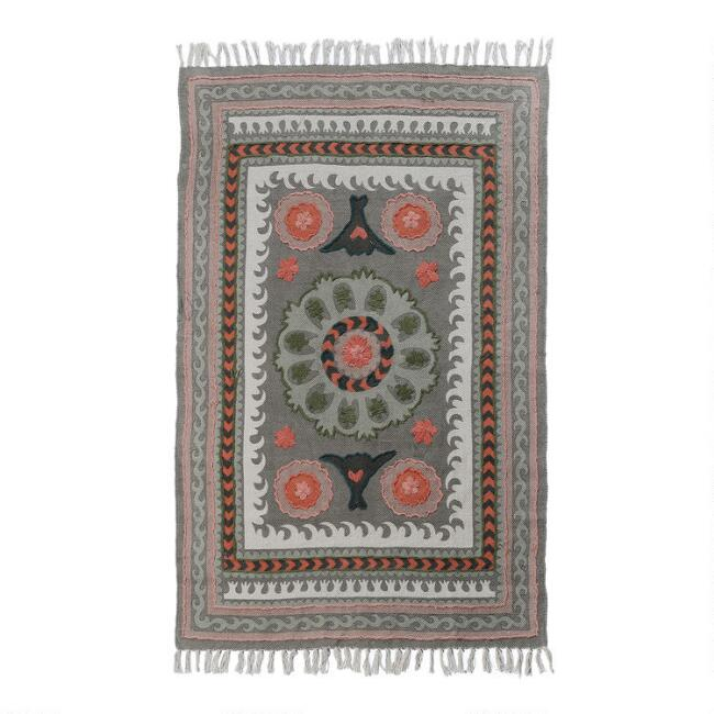 Sage Green Floral Embroidered Cotton Jaipur Area Rug