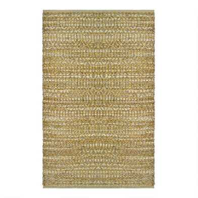 Gold Geometric Jute and Chenille Area Rug