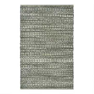 Gray Geometric Jute and Chenille Area Rug