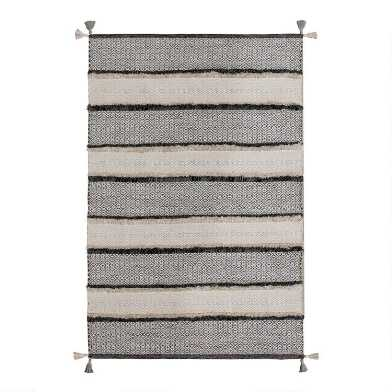 Gray and Ivory Stripe Woven Cotton Dawson Area Rug