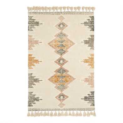 Multicolor Geometric Cotton Shag Tulum Area Rug