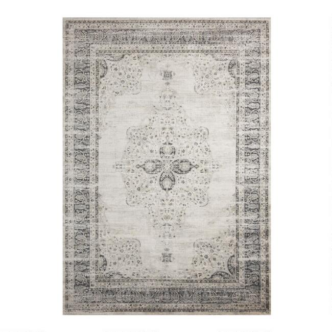 Gray Distressed Persian Style Pearl Area Rug