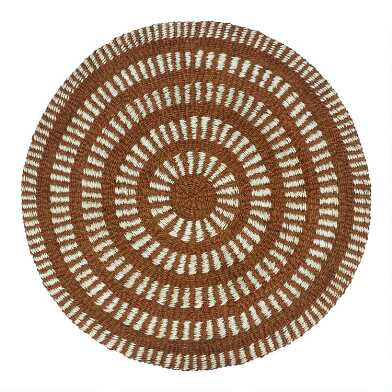 Round Rust Brown and Ivory Geometric Woven Jute Area Rug