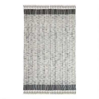 Ivory and Black Woven Cotton Reversible Hudson Area Rug