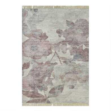 Blush and Blue Distressed Floral Octavia Area Rug