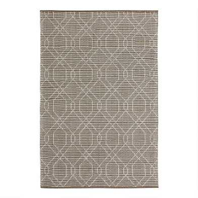 Tan Geometric Embroidered Wool and Cotton Reese Area Rug