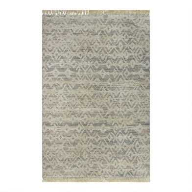 Neutral and Gray Diamond Jute Blend Aria Area Rug