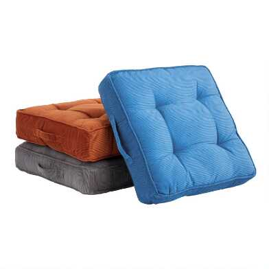 Tufted Corduroy Gusseted Floor Cushion