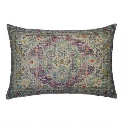 Oversized Blue and Purple Distressed Rug Lumbar Pillow