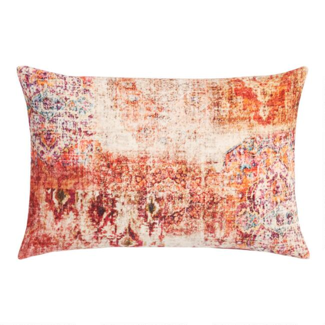 Oversized Pink and Red Distressed Rug Velvet Lumbar Pillow