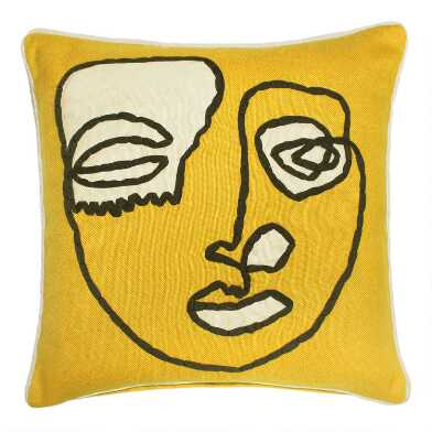 Gold Contour Face Indoor Outdoor Throw Pillow