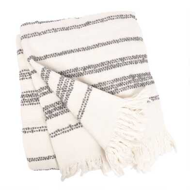 Ivory And Gray Stripe Chenille Throw Blanket