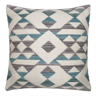 Aqua Blue Geo Diamond Indoor Outdoor Throw Pillow