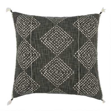 Charcoal Gray Geo Print Throw Pillow