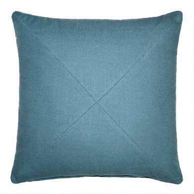 Light Blue Herringbone Cotton Throw Pillow