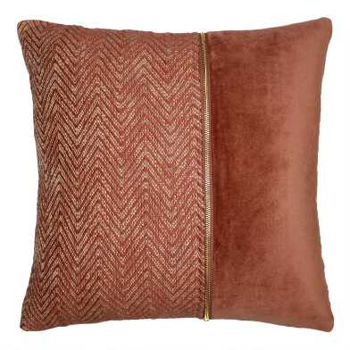 Warm Rose Off Center Zipper Velvet Throw Pillow