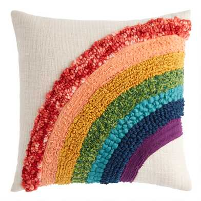 Tufted Rainbow Cotton Throw Pillow
