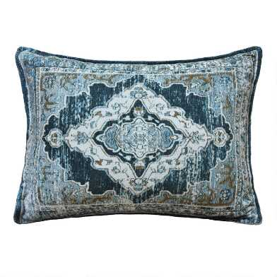 Oversized Blue And Green Distressed Rug Lumbar Pillow