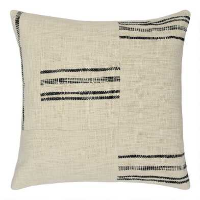Ivory and Rustic Black Stripe Patched Throw Pillow
