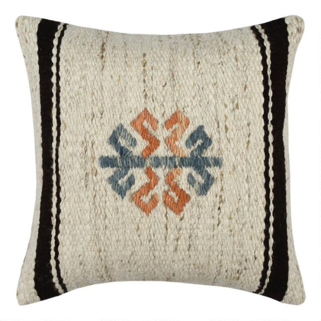 Ivory Textured Wool Symbol Throw Pillow
