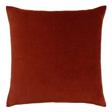 Cognac Brown Velvet Throw Pillow
