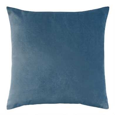 Stonewashed Blue Velvet Throw Pillow