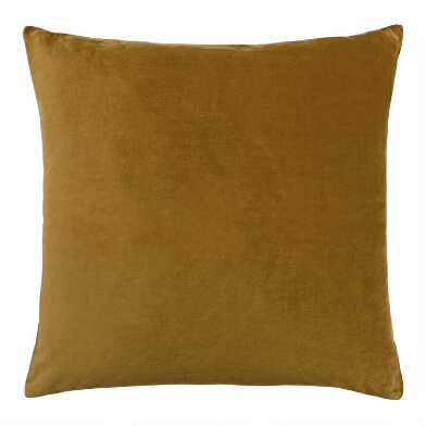 Golden Green Velvet Throw Pillow
