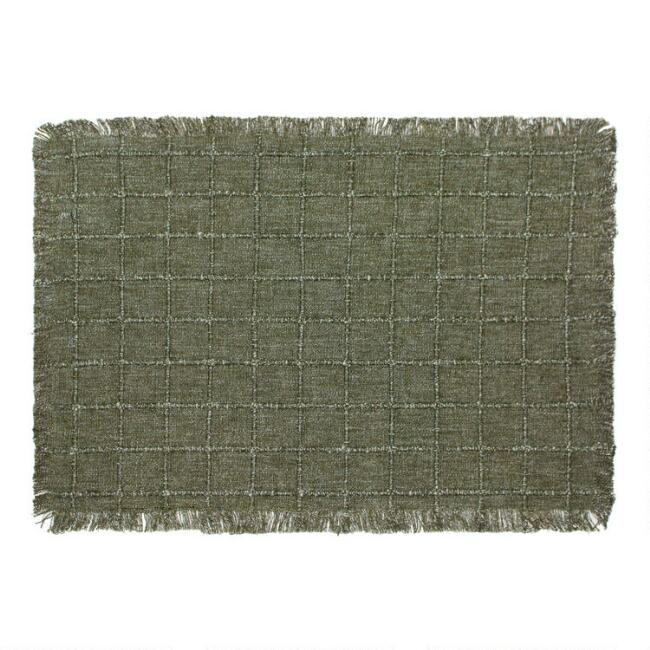 Forest Green Windowpane Placemats With Fringe Set of 4