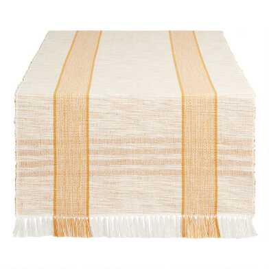 Ivory and Amber Stripe Table Runner