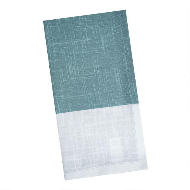 Aqua and White Half Print Napkins Set of 4